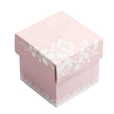 Gaveæske rosa m/hvide blomster