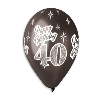 Happy Birthday 40 år sort metal ballon