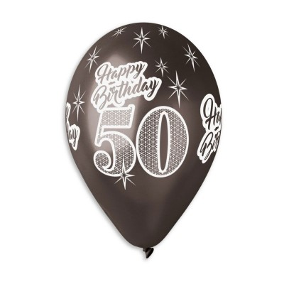 Happy Birthday 50 år sort metal ballon