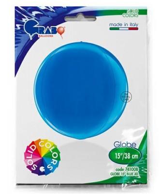 Blå kuglerund orb folieballon 38 cm
