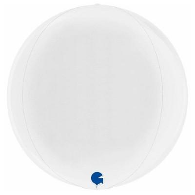 Hvid kuglerund orb ballon 38 cm