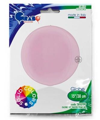 Lyserød kuglerund orb folieballon 38 cm...