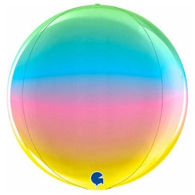 Regnbue kuglerund orb ballon 38 cm