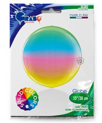 Regnbue kuglerund orb folieballon 38 cm