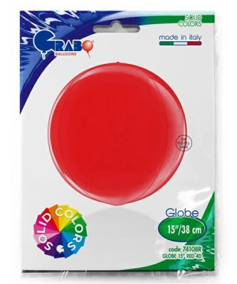 Rød kuglerund orb folieballon 38 cm