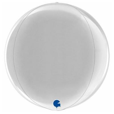 Sølv kuglerund orb ballon 38 cm