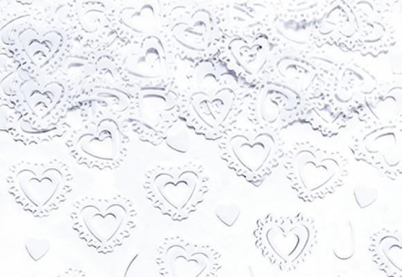 Konfetti Hjerter Hvid metal