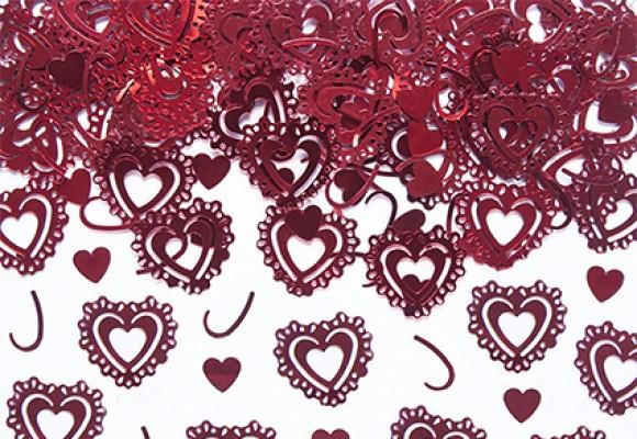Konfetti Hjerter Rød Metal
