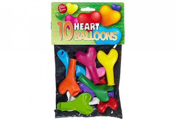 10 stk. små hjerteballoner, ass. farver
