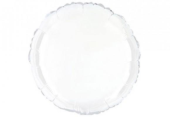 Hvid sølvfolieballon - rund 18