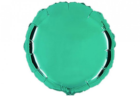Aqua sølvfolieballon - rund 18