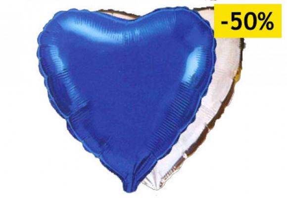 Blå/sølv sølvfolieballon - hjerte 18