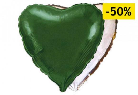 grøn/sølv sølvfolieballon - hjerte 18
