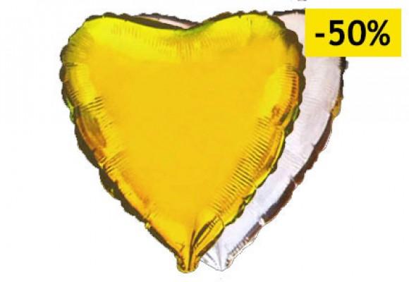 Gul/sølv sølvfolieballon - hjerte 18