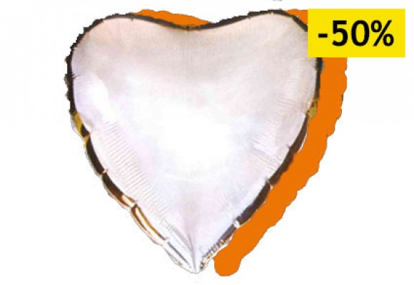 Orange/sølv sølvfolieballon - hjerte 18...