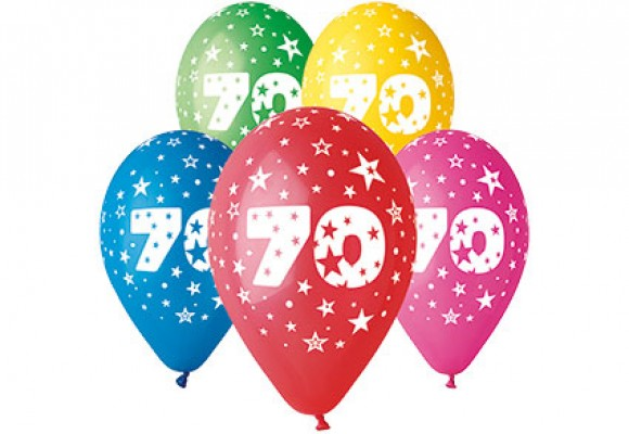 Balloner med 70 år motiv