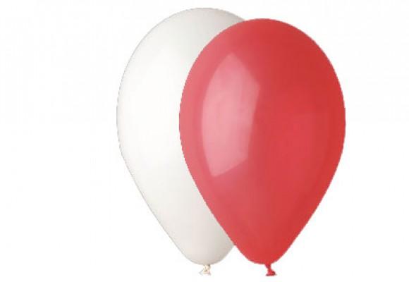 Hvid og rød ballon mix 12