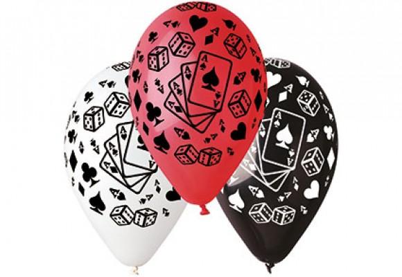Poker ballon rød, sort eller hvid