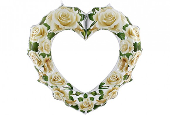 Hjerte hvide roser