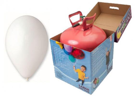 Helium kit inkl. 50 stk. hvide 10