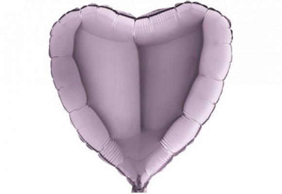 Lavendel sølvfolieballon - hjerte 18