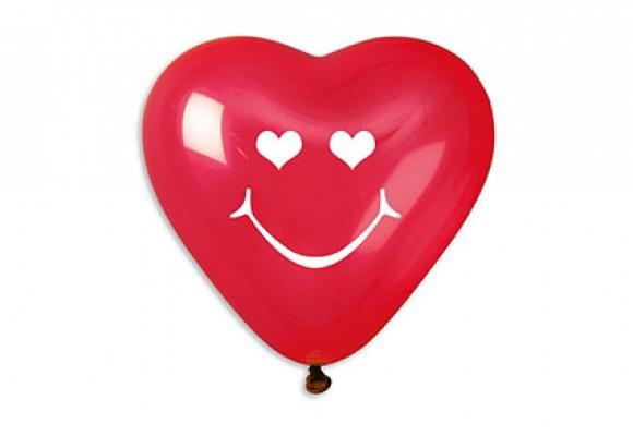 Hjerteballon med smiley