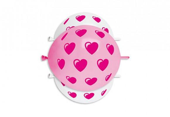 Store Hjerter pink link balloner
