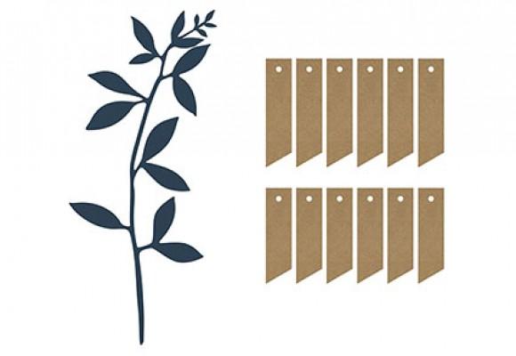 Bordkort blå blade med snor og manillamæ...