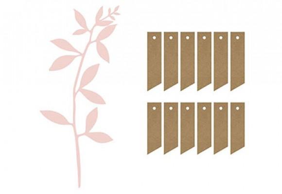 Bordkort blade lys rosa, snor og manilla...