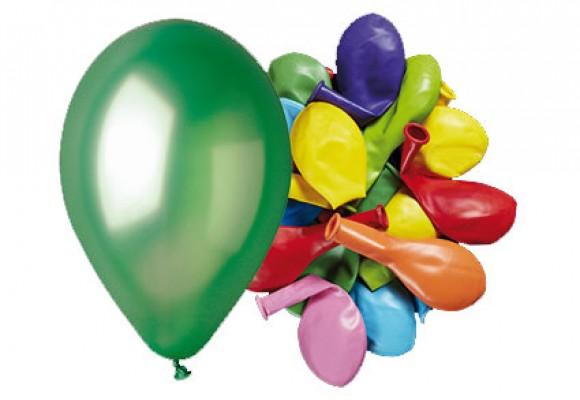 Ballon 26 cm - blandede metal farver