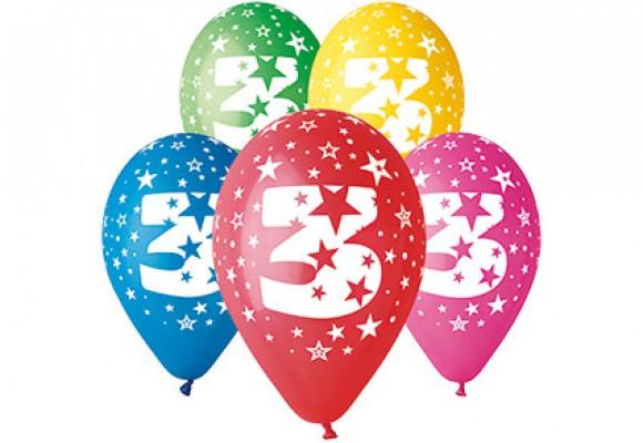 Balloner med 3 år motiv