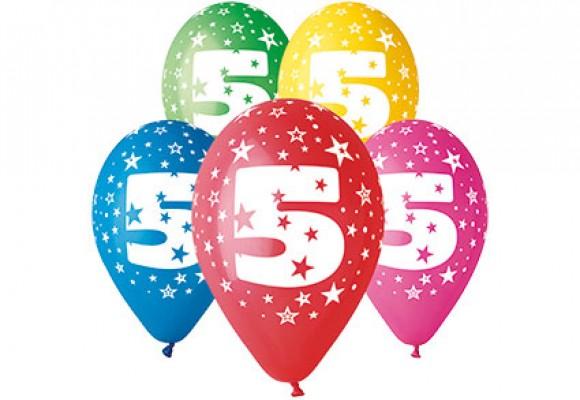 Balloner med 5 år motiv