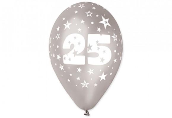 Balloner sølv med 25 år motiv