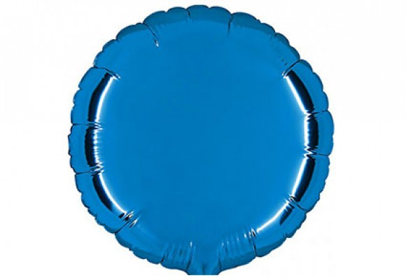 Blå sølvfolieballon - rund 18