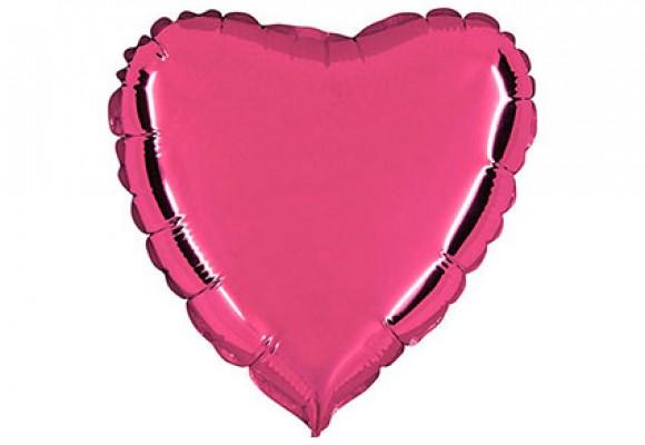Pink sølvfolieballon - hjerte 18