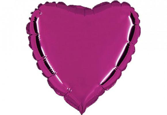 Lilla sølvfolieballon - hjerte 18