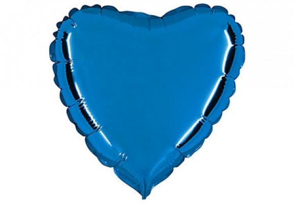 Blå sølvfolieballon - hjerte 18