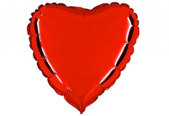 Rød sølvfolieballon - hjerte 18
