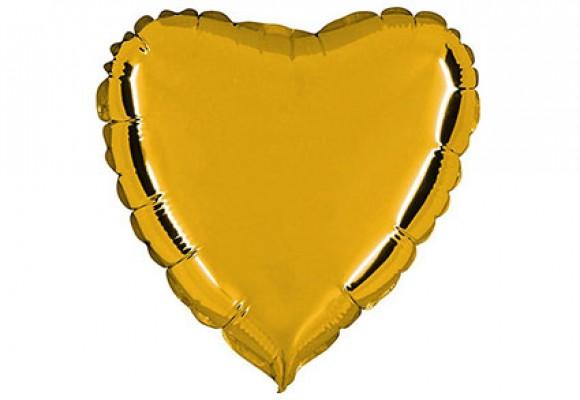 Guld sølvfolieballon - hjerte 18