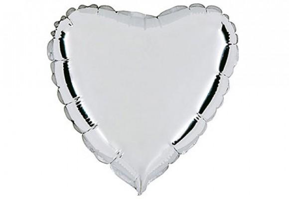 Sølv sølvfolieballon - hjerte 18
